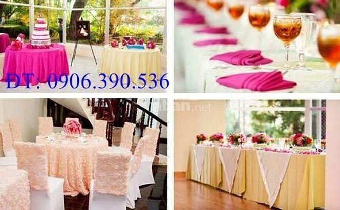 TÂM HIỆP HƯNG chuyên cung cấp áo ghế, khăn trải bàn nhà hàng tiệc cưới
