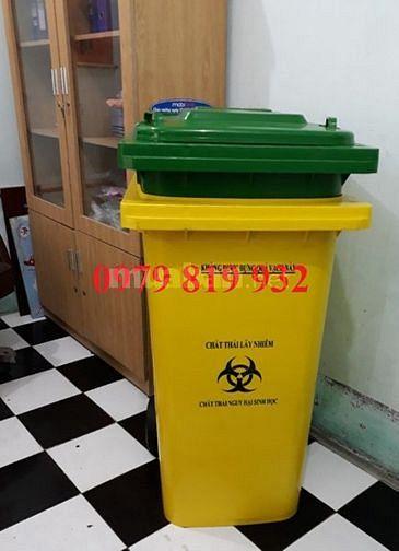 Thùng đựng rác, thùng chứa rác thải 240 lít màu xanh vàng trắng đen