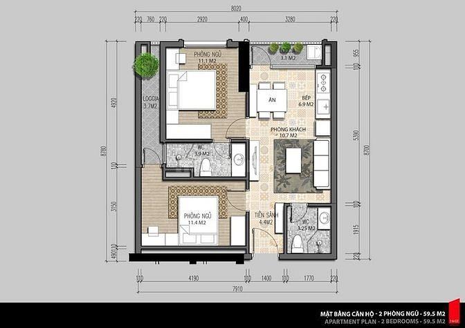 Cần bán căn hộ tại Iris garden Mỹ Đình, 60,7m2, giá 2,1 tỷ