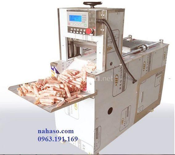 Máy cắt thịt đông lạnh tự động 2 lưỡi dao, máy thái thịt bò cuộn