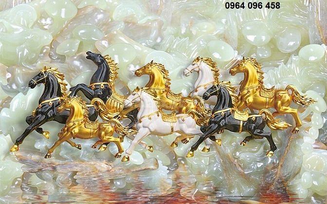 Tranh gạch 3d phong thủy 8 con ngựa TY675
