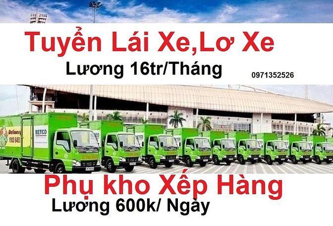 Tuyên nhân viên lái xe xe tải nhẹ B2/C . nhân viên phụ lơ xe + Phụ kho